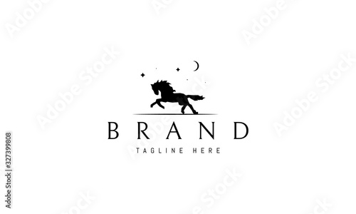 Fototapeta Vector logo on which an abstract image of a running horse under the moon and stars. obraz