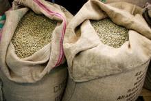 Green Coffee Beans In A Jute Bag