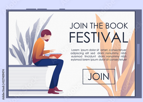 Mobile Landing Page Inviting Join to Book Festival Wallpaper Mural