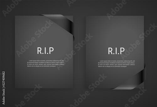 Foto Mourning frame, funeral gray dark card, Diagonal Black Ribbon