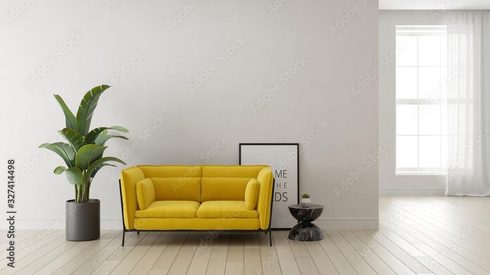 Fototapeta Interior of modern living room 3 D rendering