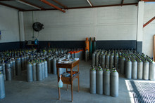 Warehouse Oxygen Tanks For Diving. Overall Plan.