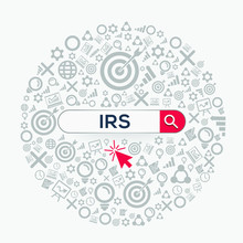 IRS Mean (internal Revenue Service) Word Written In Search Bar ,Vector Illustration.