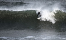 Surfer Catching A Big Wave On The Atlantic Ocean , East Coast Of The US