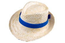 Straw Hat With A Blue Ribbon I...