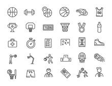 Set Of Linear Basketball Icons...