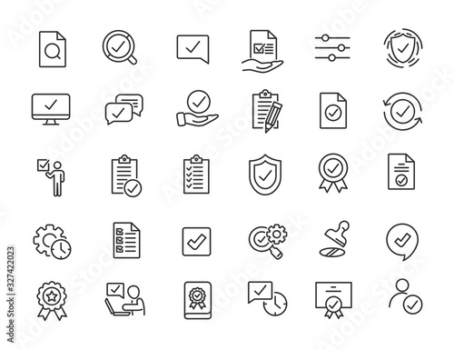 Obraz Set of linear quality icons. Guarantee icons in simple design. Vector illustration - fototapety do salonu
