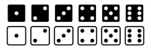 Dice Vector Set Of Icons. Gambling Collection. Dice Isolated Black Icon. Gamble Chance Leisure.