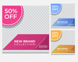 Slides abstract Unique Editable modern Social Media banner Template. Promotional web banner for social media. Elegant sale and discount promo