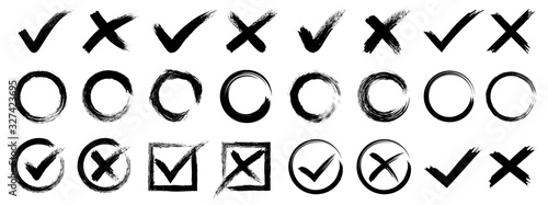 Photo Set hand drawn check mark, tick and cross brush signs, checkmark OK and X icons,