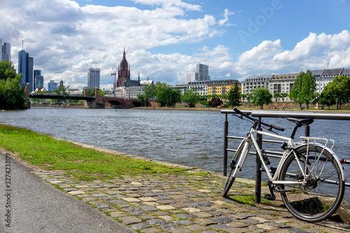 Cuadros en Lienzo Urban Riverside Park in Frankfurt