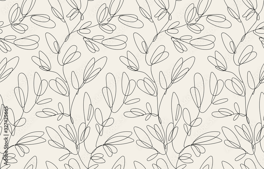 Fototapeta Seamless floral pattern with one line flowers. Vector hand drawn illustration.