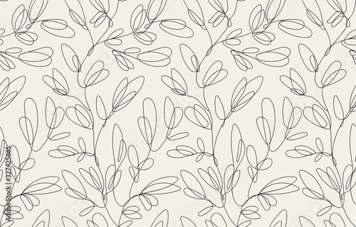 Seamless floral pattern with one line flowers. Vector hand drawn illustration. - 327425665