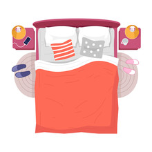 Bed, Night Lamp Stads Top View Semi Flat RGB Color Vector Illustration. Interior Decor Above. Bedroom Furniture, Sleeping Accessories, Orange Linens Isolated Cartoon Object On White Background