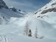 beautiful skitouring mountain terrain in winter landscape tennengebirge in austrian alps