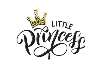 Little princess vector isolated on white with golden crown. Little princess lettering design as logo, t-shirt design and print for girls clothes and apparel. Princess emlem, label, tag