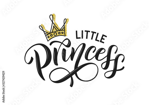 Little princess vector isolated on white with golden crown Fototapet