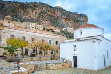 View Of The Amphitheatrical Traditional Medieval Village Of Monemvasia In Laconia Greece
