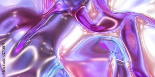 Fototapeta glossy metal neon pink and blue fluid glossy mirror water effect background back