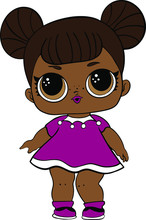 Funny Black Doll In Purple Dre...