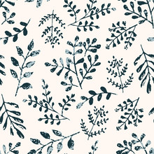 Delicate Seamless Pattern With Blue Monochrome Textured Ink Leaves And Branches On Pastel Orange Background. Unique Hand Drawn Texture Of Tropical And Daisy Herbs For Botany Textile Design, Wallpaper