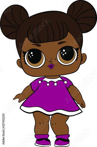 Valokuvatapetti Funny black doll in purple dress decoration for baby T-shirt