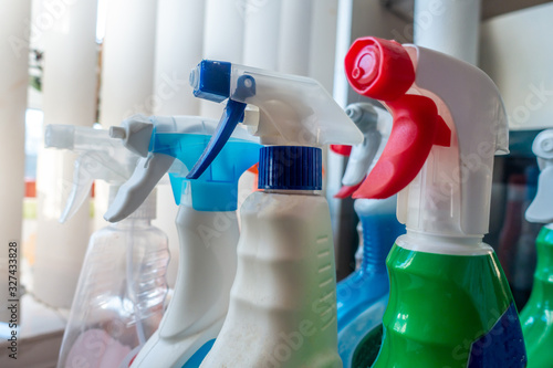 Obraz Spray bottles of cleaning products for disinfecting and making clean. - fototapety do salonu