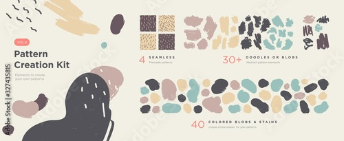 Fototapeta Set of abstract trendy hand drawn shapes and design elements. Pattern Creation set. Vector obraz