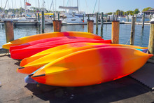 Colorful Kayaks Drying In Sun ...