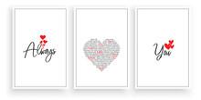 Always Love You, Vector. Wording Design, Lettering. Scandinavian Minimalist Poster Design, Three Pieces Art Design, Wall Artwork Decor, Wall Decals. Romantic Love Quotes