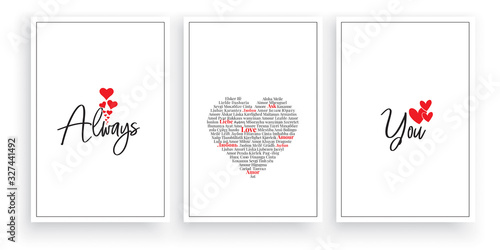 Obraz Always love you, vector. Wording design, lettering. Scandinavian minimalist poster design, three pieces art design, wall artwork decor, wall decals. Romantic love quotes - fototapety do salonu