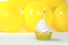 Bright Happy Birthday Cupcakes With Candles