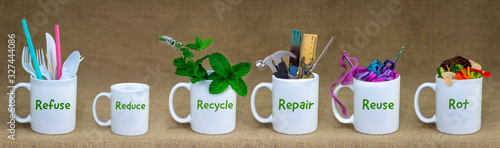 Obraz Zero Waste management, illustrated in 6 mugs with relevant contents. Refuse, reduce, recycle, repair, reuse, rot. Eco lifestyle, sustainable living and zero waste concept - fototapety do salonu