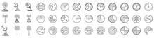 Radar Icons. Set Of Radar Screen Icons - Vector.