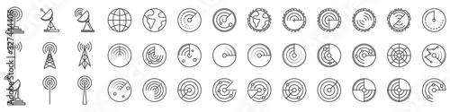 Radar icons. Set of Radar screen icons - vector. Canvas Print