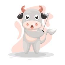 Adorable Cow Play Golf Cartoon...