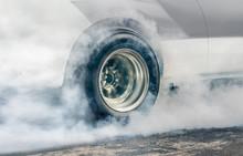 Drag Racing Car Burns Rubber O...