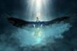 Leinwandbild Motiv Bald eagle flying over the clouds 3d illustration