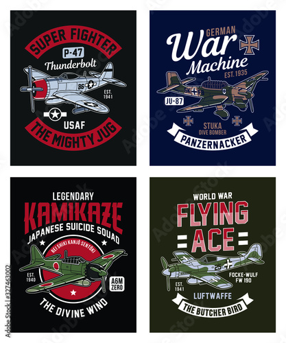 Fotomural Vintage World War 2 Fighter Plane Graphic T-shirt Collection