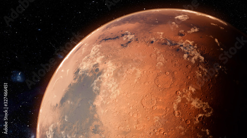 Orbiting Planet Mars. High quality 3d illustration Canvas Print