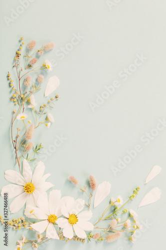 white flowers on paper background Fototapete