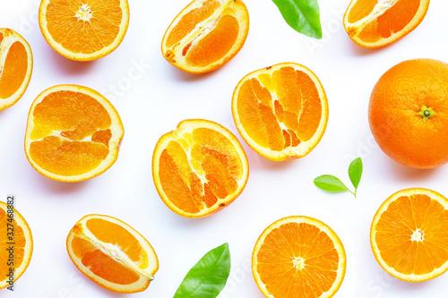 Fototapety, obrazy: High vitamin C, Juicy and sweet. Fresh orange fruit on white.
