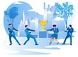 People on Business Competition. Men and Women Pulling Rope with Golden Goblet in Center. Creative Metaphor of Leadership Goal Achievement, Businesspeople Fight for Cup Cartoon Flat Vector Illustration