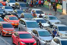 A Stream Of Cars, Traffic Jam ...