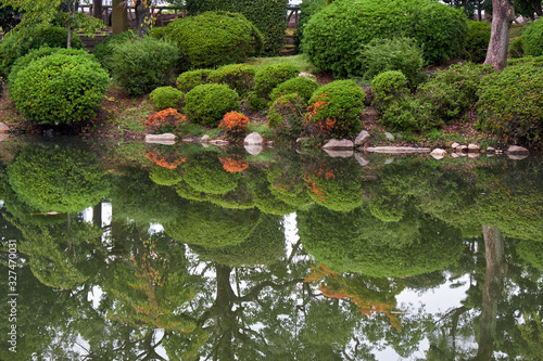 The traditional Japanese garden in the inner bailey of Osaka Castle Canvas Print