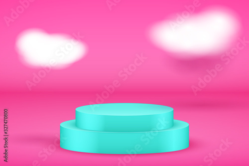 Photo Blue Presentation platform on pink backdrop with clouds