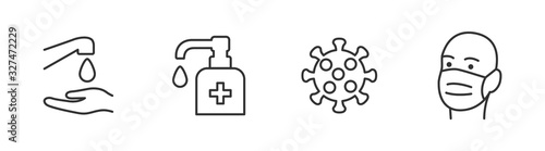 Obraz Hygiene vector icon set. Virus care black line outline icons collection. Washing hands, anti bacterial soap - fototapety do salonu