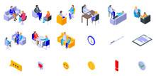 Psychologist Icons Set. Isometric Set Of Psychologist Vector Icons For Web Design Isolated On White Background
