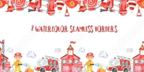 Fototapeta Watercolor seamless borders