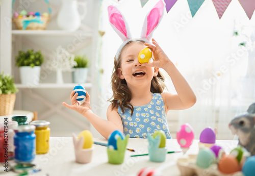 child painting eggs Canvas Print